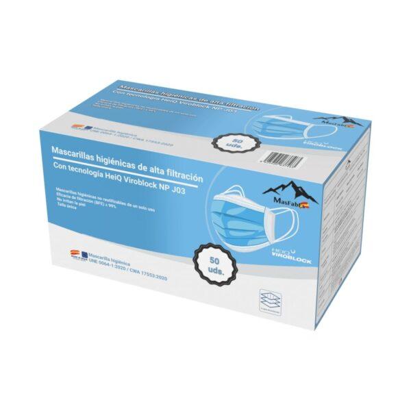 Mascarillllas Higiénicas con tecnología HeiQ Viroblock instrucciones frontal arriba