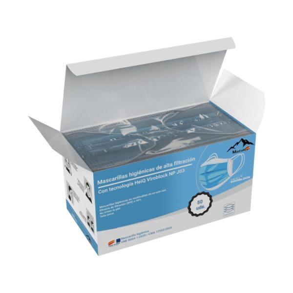 Mascarillllas Higiénicas con tecnología HeiQ Viroblock caja abierta